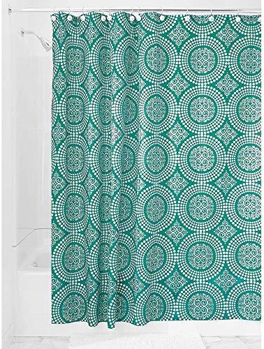 iDesign Medallion Textil Duschvorhang | 183 cm x 183 cm Duschabtrennung für Badewanne & Duschwanne | Vorhang aus Stoff mit verstärkter Oberkante | Polyester , Deep Teal