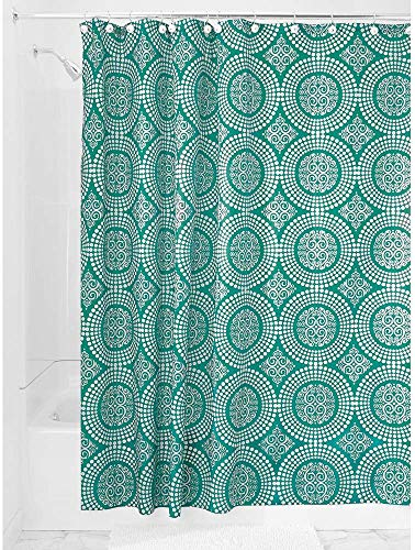 Price comparison product image iDesign Medallion Fabric Shower Curtains,  Long Shower Curtain,  Made of Polyester,  Aquamarine