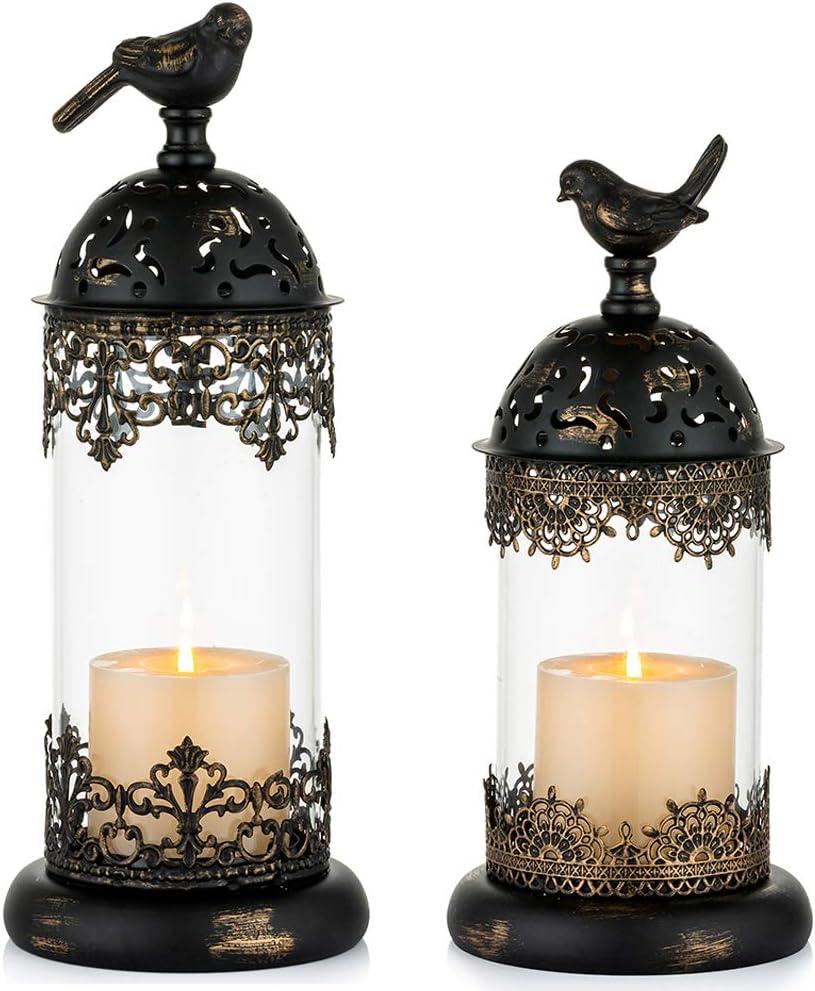 NUPTIO Vintage Pillar Candle Holders Moroccan Wrought Iron Hurri