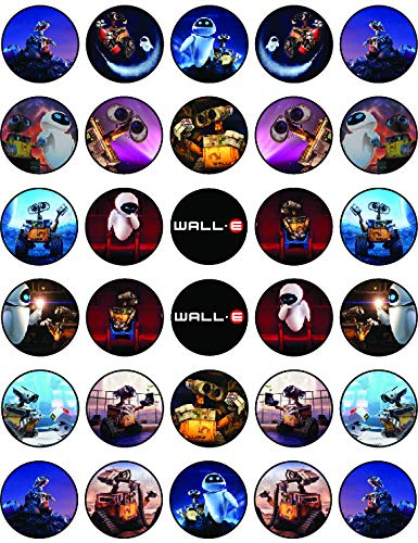 30 x Edible Cupcake Toppers Themed of Walle Collection of Edible Cake Decorations | Uncut Edible on Wafer Sheet