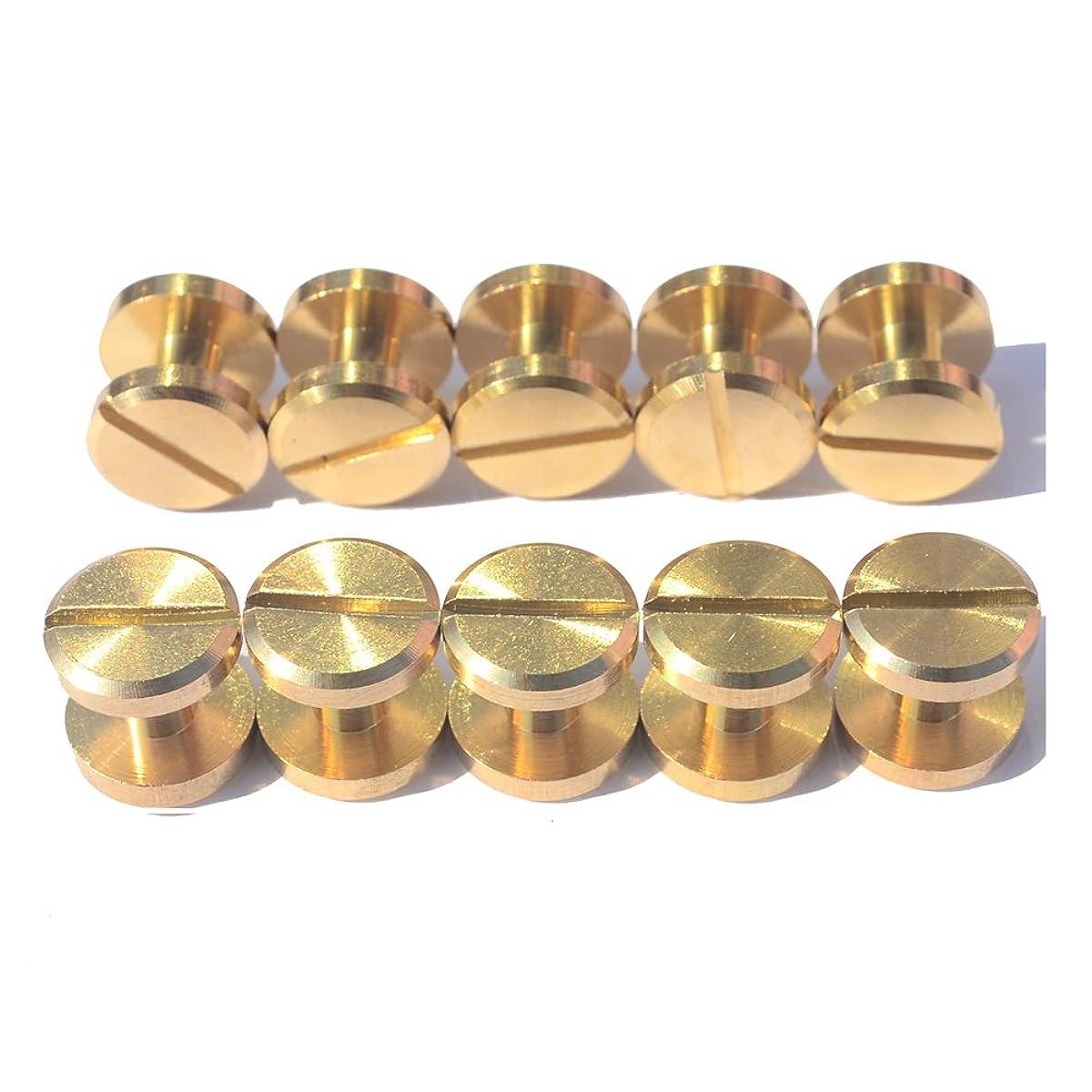 DGOL 50 Pairs Brass Backscrews Golden Leather Fasteners Sturdy Binding Rivets Belt Strap Collar Back Screws PU Studs Length (0.158inch(4mm))