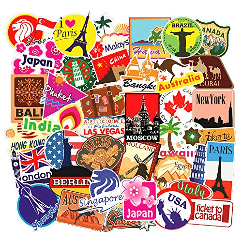 100pcs Travel Map Stickers World Famous Tourism Country Regions Logo Waterproof Tourist Wonders Stickers National Flag Idea for Luggage Skateboard Laptop Luggage Suitcase Book Covers