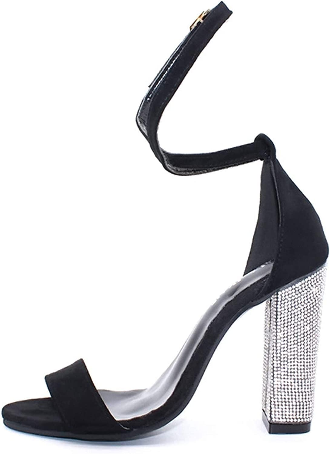 Sexy Sandals High-Heel Summer Crystal Party shoes Buckle Strap Low-Cut Sandals