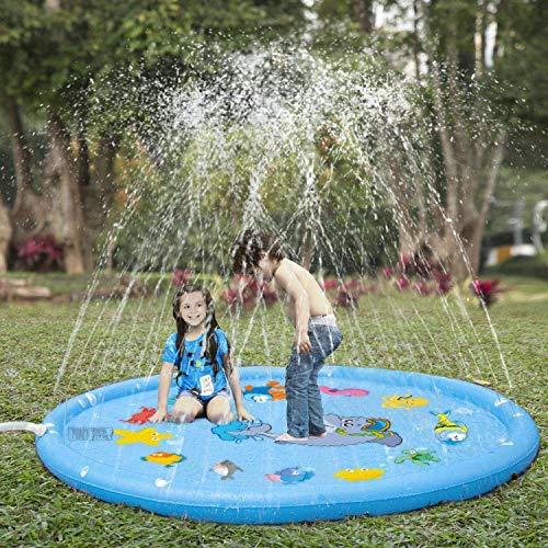 Espolvorear y Splash alfombra de juego, 170 cm de agua Splash Pad al aire libre de agua de riego de riego piscina for los niños del jardín al aire libre Diversión Juguetes de agua de los muchachos del