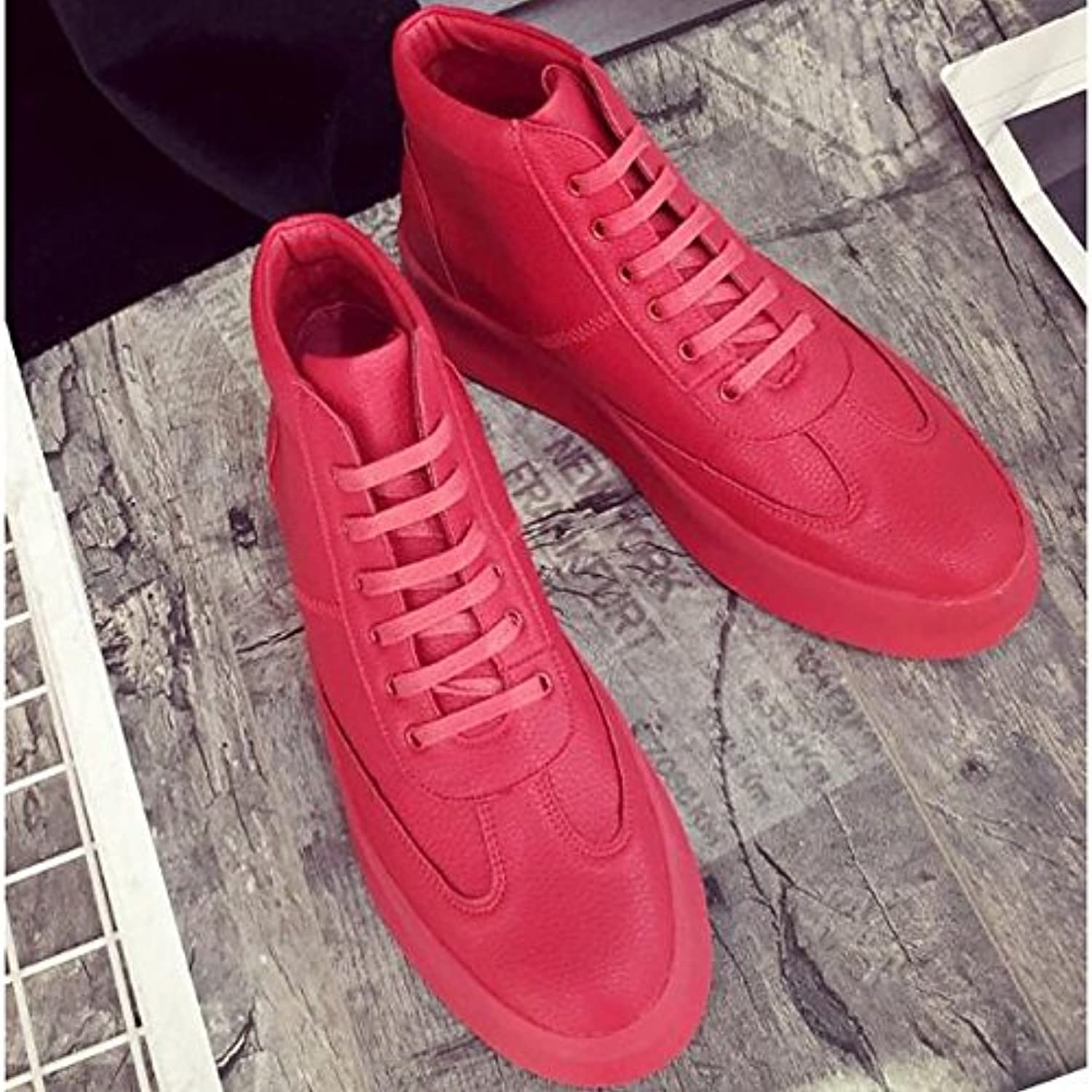 DIMAOLV Men's shoes Cowhide Spring Fall Comfort Sneakers for Casual White Black Red,Red,US5.5-6   EU37   UK4.5-5   CN37