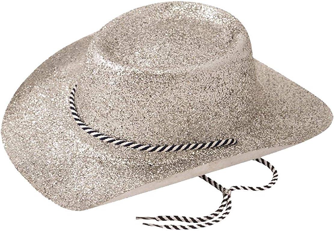 Rimi Hanger Adults Novelty Silver Glitter Cowboy Hat Unisex Fancy Dress Party Accessories One Size