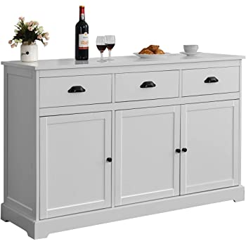 Giantex Sideboard Buffet Server Storage Cabinet Console Table Home Kitchen Dining Room Furniture Entryway Cupboard with 2 Cabinets and 3 Drawers Adjustable Shelves, White (Gray)