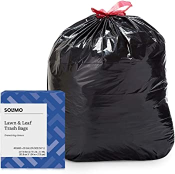 40-Pack Solimo Lawn & Leaf 39-Gallon Drawstring Trash Bag