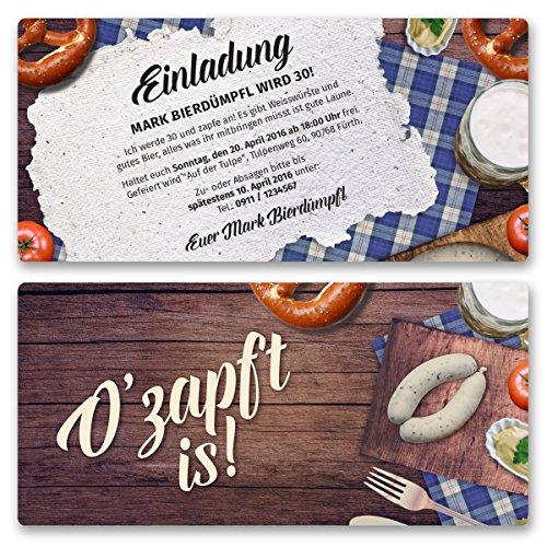 (10 x) Einladungskarten Geburtstag Oktoberfest Hüttengaudi Wiesn Einladungen