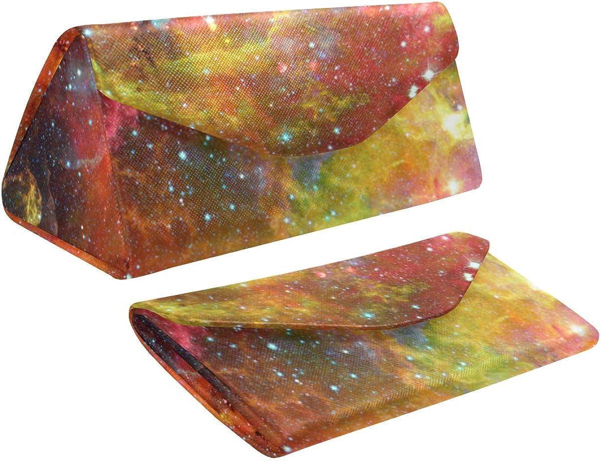 Glasses Case Space Nebula And Galaxies Eyeglass Case Leather Magnetic Folding Hard Case Sunglasses Eyewear Protective Case