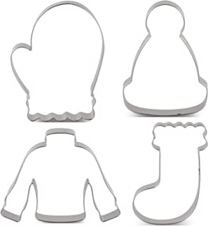 LILIAO Winter Holiday Christmas Cookie Cutter Set - 4 Piece - Ugly Sweater, Stocking, Hat and Mitten Fondant Biscuit Cutters - Stainless Steel