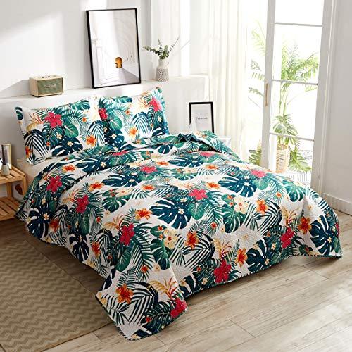 Summer Tropical Bedding Green Palm Leaves Flowers Quilts Set King Size,3Pcs Lightweight Rainforest Bedspreads Jungle Reversible Coverlet Sets Pillow Shams