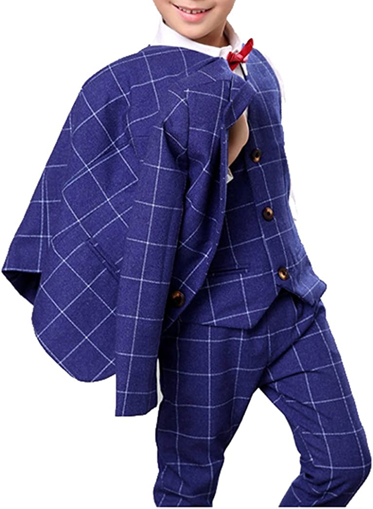 Boys Blue Suit Set with Grid 3 Pieces Jacket Vest and Pants Set