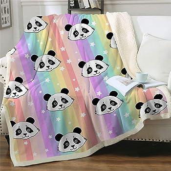 "Sviuse Sherpa Fleece Blanket Cartoon Panda Pattern Lightweight Throw Blanket for Bed Sofa Travel Kids Teens Birthday Gifts (50"" X 60"") (Rainbow Panda)"