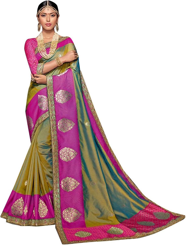 BOLLYWOOD DESIGNER TRADITIONAL SILK SAREE SARI BLOUSE WEDDING CEREMONY PARTY WEAR INDIAN WOMEN ETHNIC EMPORIUM 341