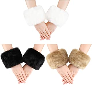 3 Pairs Women Winter Wrist Warmers Faux Fur Cuff Warmers Arm Leg Warmers for Women Costumes Gifts