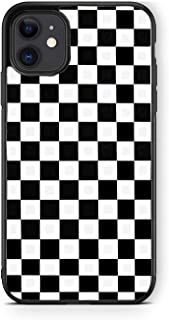 XUNQIAN Compatible for iPhone 12 Case, iPhone 12 Pro Case, Black White Checkered Flag Checkerboard Thin Soft Black TPU +Te...