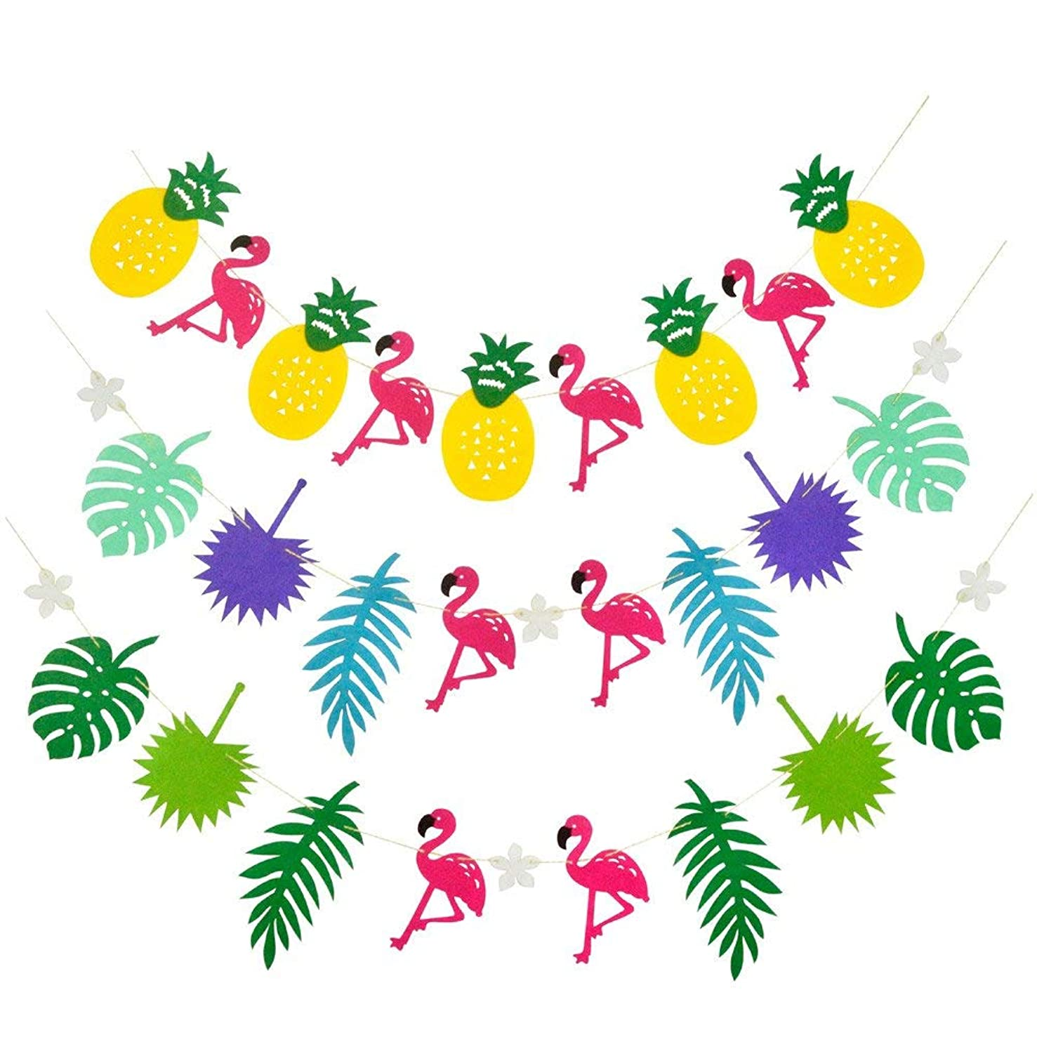3 Packs, Size Apprpx.5.2 x 3.6 inches Fabric Tropical Rainforest Multicolored Pattern Pink Flamingo Pineapple Leaves Decorations Girls Room Birthday Wedding Club Salon Party String Banner Pennant