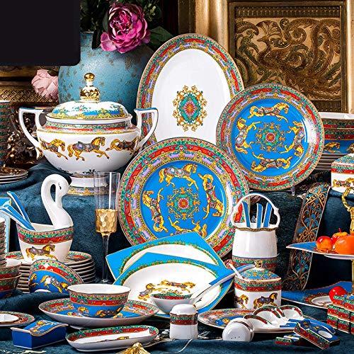 GAXQFEI Ceramica Dinnerware Set, 74 Pezzi Di Lusso Set da Tavola in Porcellana | Smalto High-End Bone China Stoviglie...