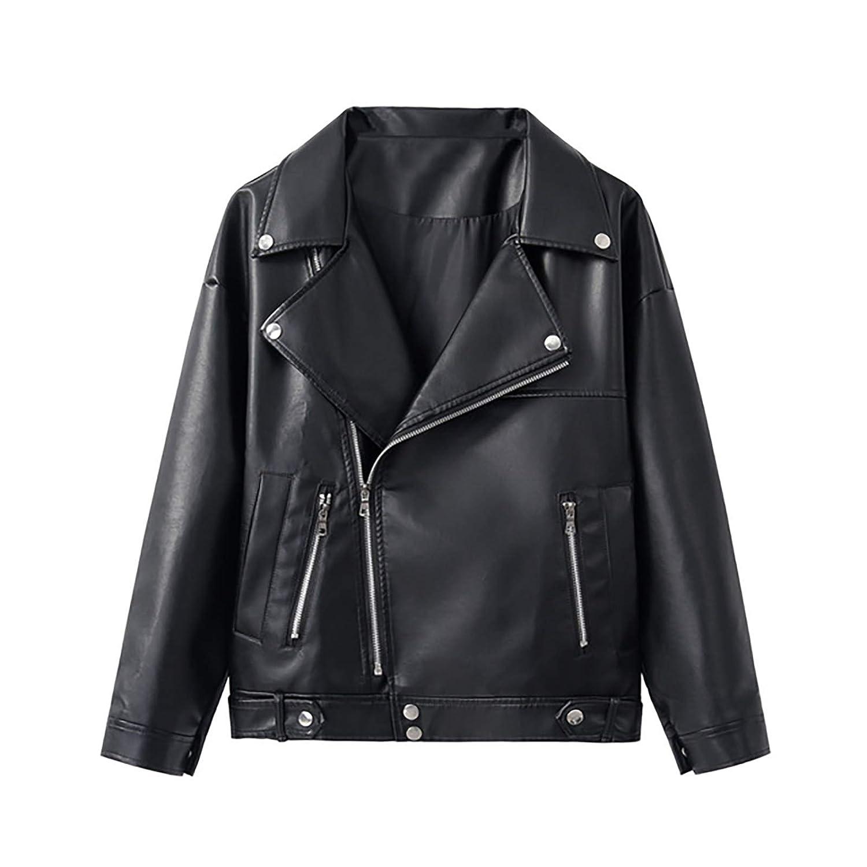 New Loose PU Faux Leather Jacket Women Classic Moto Biker Jacket Autumn Winter Lady Basic Coat Plus Size Outerwear,Black,L