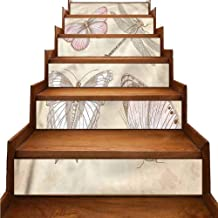Vintage Self-Adhesive Stairs Stickers Retro Butterflies Bugs Eco-Friendly PVC