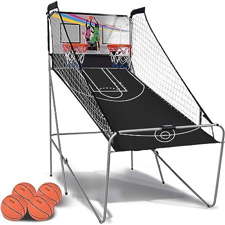Panier de Basket Interieur avec 4 Balles et Pompe Jeu Arcade /électronique Jeu de Basket-Ball pour Enfants avec 2 Joueurs