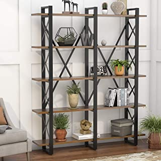 Tribesigns Double Wide 5-Shelf Bookcase, Etagere Large...