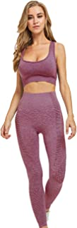 Toplook Women Seamless Yoga Workout Set 2Pcs Outfits Gym Leggings and Sports Bra
