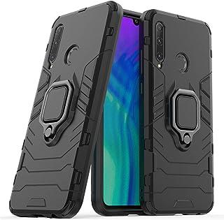 LuluMain 適応 ファーウェイ Huawei Honor 20 Lite, Honor 20i 多機能ケース リングキックスタンドカバー エクストリーム保護 衝撃吸収性カバー (ブラック)