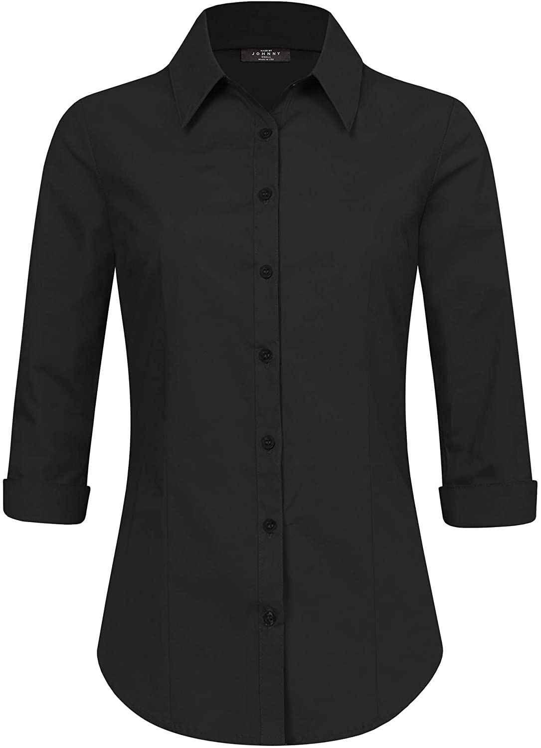 Made By Johnny Women's Solid 3/4 Sleeve Stretchy Button Down Collared Office Formal Casual Blouse (S~3XL)