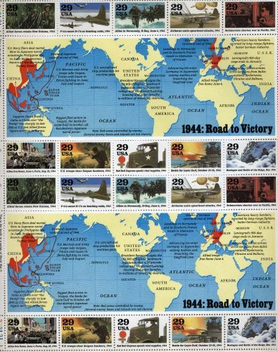 1944 WWII Road to Victory Sheet Collectible Stamp Sheet of 20 29 Cent Stamps Scott 2838