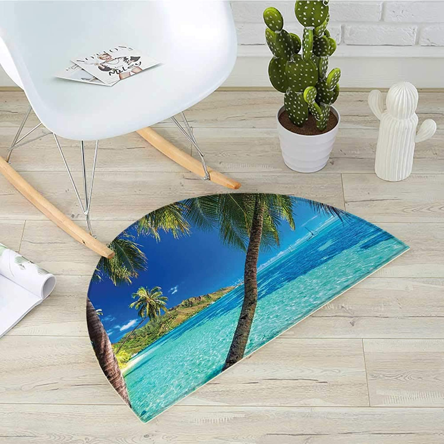 Ocean Semicircle Doormat Image of a Tropical Island with Palm Trees and Clear Sea Beach Theme Print Decor Halfmoon doormats H 39.3  xD 59  Turquoise bluee