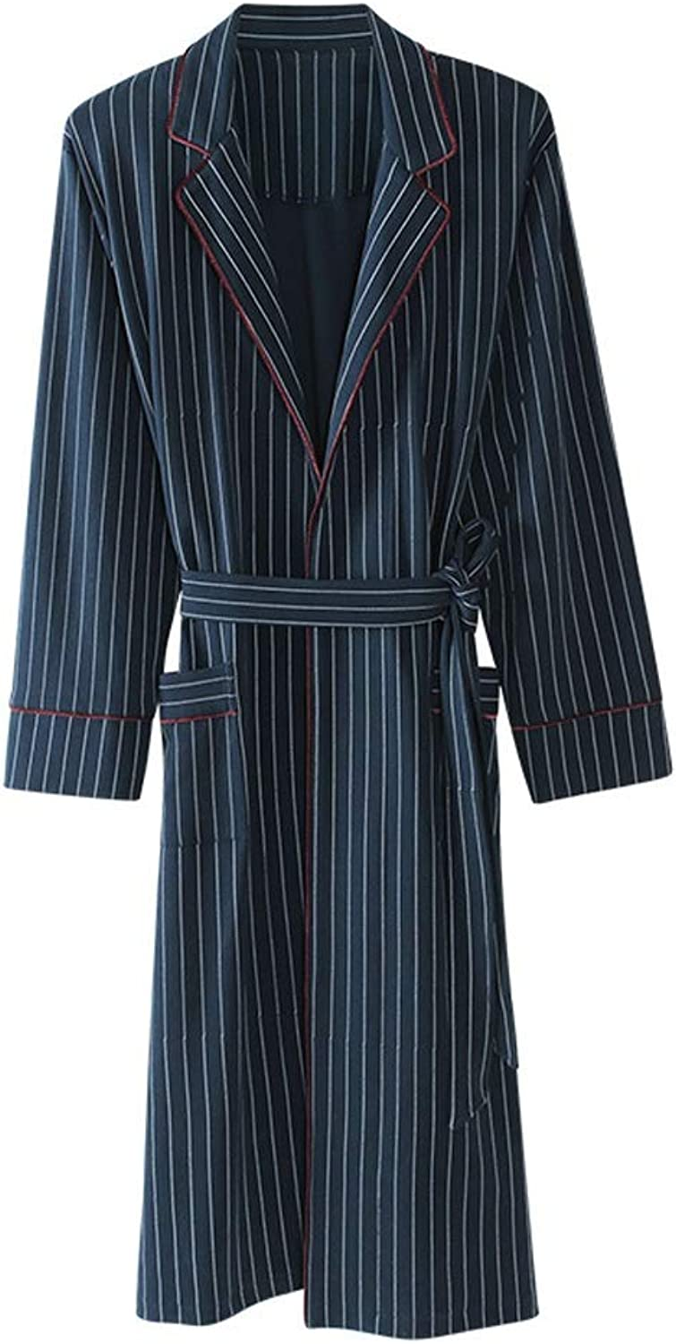 Nightwear Couple Spring and Autumn Cotton LongSleeved Bathrobe Male Pajamas Cotton Youth Bathrobes Ladies Long Home Service (color   bluee, Size   S)