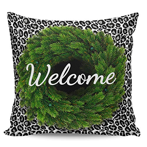 Scrummy Throw Pillow Covers 26' x 26' Welcome Green Pine Leaf Wreath Stylish Leopard Print Decorative Pillowcases Square Cushion Cover for Home Decor