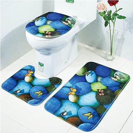 LAOSHIZI Nouveau Tapis de Bain Doux Antidérapant La Galet Charmant 3 pièces Ensemble de Tapis de Salle de Bain Contour WC Couverture de Toilette Siège Galets Bleus