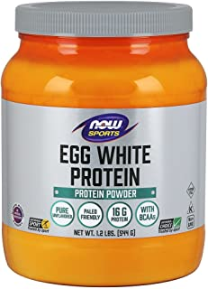 NOW Sports Nutrition, Egg White Protein, 16 G With BCAAs, Unflavored Powder, 1.2-Pound