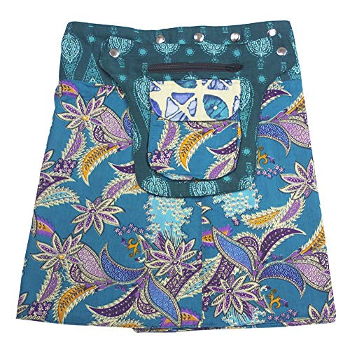 Sunsa Damen Rock Minirock Sommerrock Wickelrock aus luftiger Baumwolle, 2 Designs Röcke in einem, Größe verstellbar, Frau Bekleidung, Geburtstag Geschenk für Frauen, Boho Bekleidung 15744