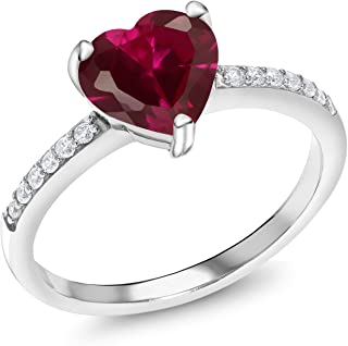 d8860fd4a Gem Stone King Sterling Silver Red Created Ruby Women's Ring 1.84 cttw  Heart Shape Available in