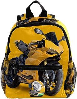 Mini Mochila Escolar Casco de Moto Amarillo Mochilas para niñas Mochilas para niños Mochilas para jardín de Infantes Mochilas pequeñas para niños de 3 a 8 años 25.4x10x30 CM