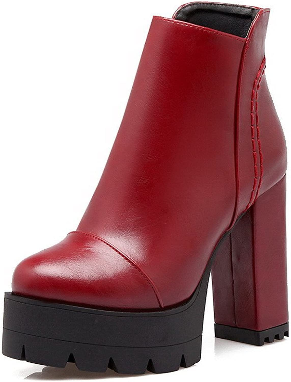 WeenFashion Women's Zipper Round Closed Toe High Heels Low-Top Boots