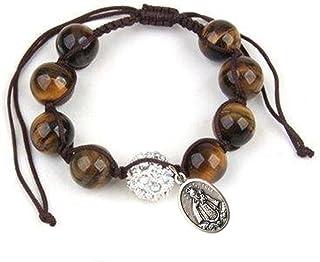 Pulsera Shamballa de Ojo de Tigre con Medalla de Plata Enchapada de La Virgen de Regla