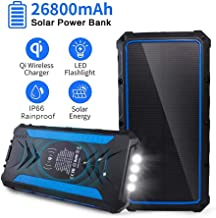 Solar Charger 26800mAh, Qi Wireless Portable Solar Power Bank Panel Charger, 3 Outputs 5V/3A High-Speed and LED Flashlight Huge Capacity Phone Charger, IP66 Rainproof for Camping, with Carabiner.