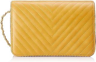 شنطة كروس مضلعة بغطاء وحزام سلسلة للكتف قابل للفصل للنساء من كلوب الدو - اصفر