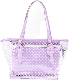 STONG Waterproof Transparent PVC Zipper Polka Dot Beach Handbag Carrier Tote Shoulder Bag Great for Travel Or Everyday Use (Purple)