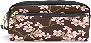 ALAZA Cherry Blossom Pencil Case Zipper PU Leather Pen Bag Cosmetic Makeup Bag Pen Stationery Pouch Bag Large Capacity