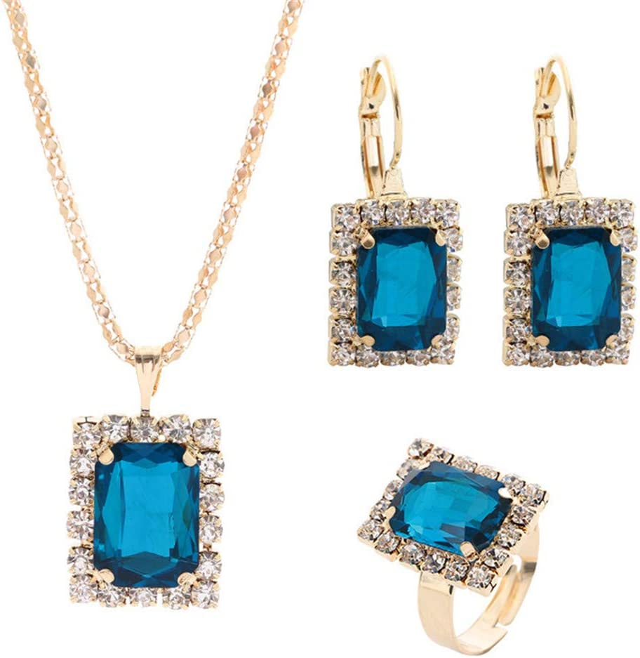 WEILYDF 4 Pieces Jewelry Set Noble Glamour Square Crystal Necklace Matching Stud Earrings Rings Wedding Party Stylish Jewelry Gifts