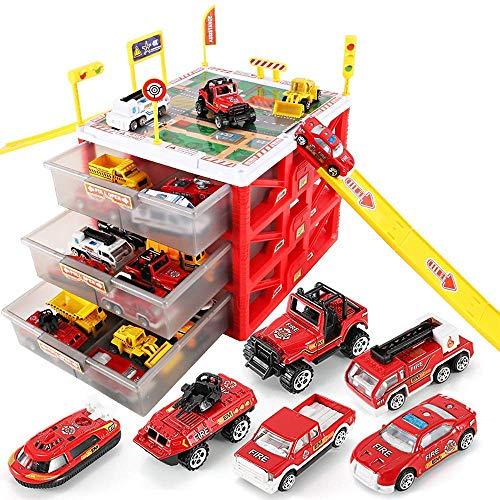 HANMUN Car Garage Fire Engine Toy Car Storage Parking Lot with Slides for Vehicles Firefighter Role Play Toys Organizer Box Gift Idea for 3 4 5 Year Old Boy Girl (with 6 Diecast Vehicles ) …