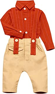 bilison Baby Boys Clothes Fashion Gentleman Outfits Set Long Sleeves Shirt+Suspender Bib Pants