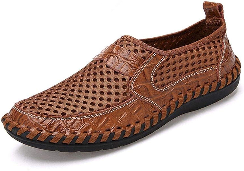 TXSCVBJN Men Sandals Good Leather Casual Men Summer shoes Outdoor Hole Leather Sandals For Man Comfortable Men Beach shoes Brown