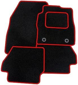VAUXHALL CORSA 2007-2014 TAILORED CAR MATS BLACK  amp  RED TRIM 1312
